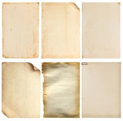 Set of old vintage paper background (clipping path)