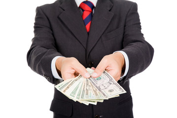 Close up of businessman with money on white background