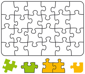 Jigsaw puzzle in the form of a rectangle with single pieces which can be individually removed and arranged. Illustration on white background. Vector.