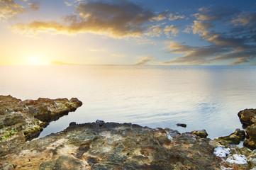 Black sea  on sunset.