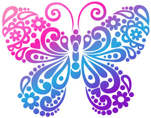 Butterfly Swirls Tatto Vector Design Elements
