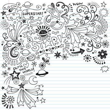 Superstar Inky Scribble Doodles Vector Design Elements