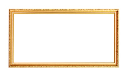 golden photo frame isolated on white