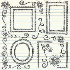 Sketchy Frames Doodles Vector Illustration Set