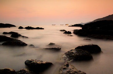 Sunset View of Rock at Kamala Beach, South of Thailand