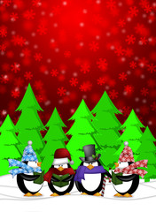 Penguins Carolers Singing with Red Winter Scene Illustration