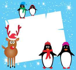 vector card with reindeer and penguins