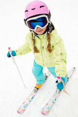Skiing - portrait of  cute skier