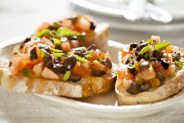 Tomato and Olives Bruschetta Entree