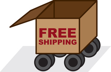 Free shipping box with wheels