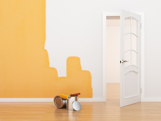 Painting of an empty room. Renovation house. 3D illustration