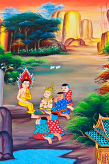 Buddha art paint in public temple of Thailand