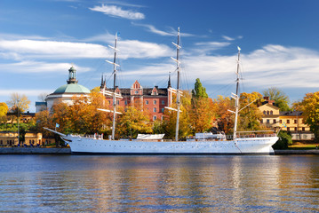 Old white sailship in harbor of Stockholm, Sweden