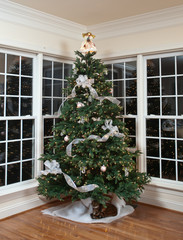 Decorated christmas tree in home