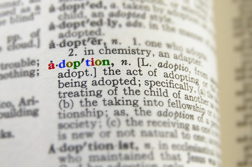 closeup of adoption definition in colorful letters