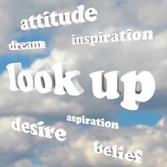 Look Up - Positive Attitude Words in Sky