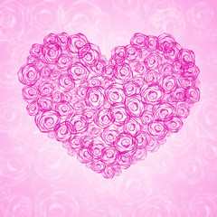 background with floral heart shape