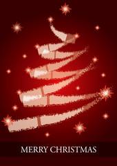 Bitmap Christmas Card with abstract Christmas tree