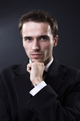 Handsome man portrait, male model, studio shot