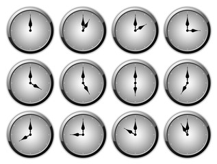 Clock Set - Silver Elegance