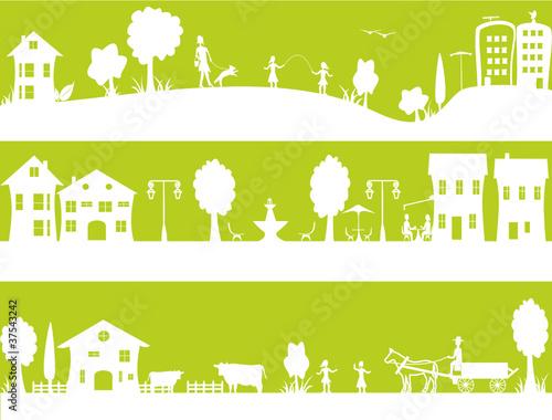 banni re vivre en ville ou la campagne fichier vectoriel libre de droits sur la banque d. Black Bedroom Furniture Sets. Home Design Ideas