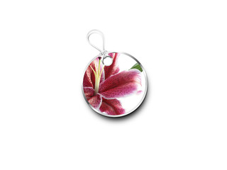 Silver Tag With A Picture Of A Lilly