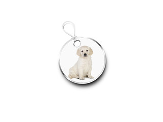 Silver Tag With A Picture Of A Puppy