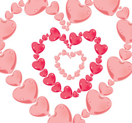Pink hearts in an image of heart
