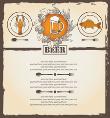 menu with a glass of beer, lobster and roach