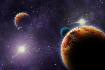 Wall Mural - Planets in deep dark space. Abstract illustration of universe.