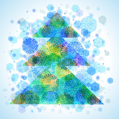Christmas tree, snowflakes, abstract background