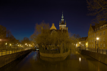 Radunia river and Great Mill in Gdansk, Poland.