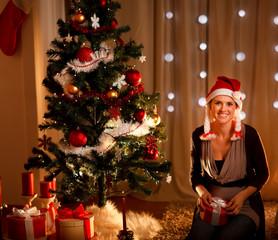 Portrait of beautiful woman near Christmas tree holding gift