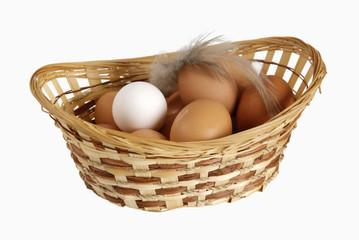 Eggs lie in a basket