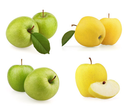 Set green and yellow apples on white