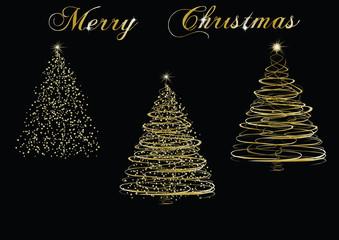 Christmas golden trees