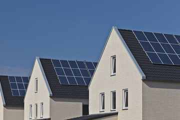 New houses with solar panels attached