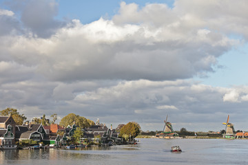 Dutch houses and windmills at the Zaanse Schans