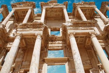 Facade of ancient Celsius Library in Ephesus, Turkey