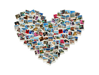 Travel passion - heart shaped collage made of world photos