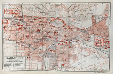 Vintage map of Karlsruhe