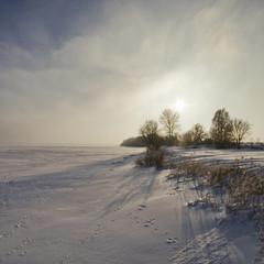 Canvas Prints North Sea Zima nad zatoką