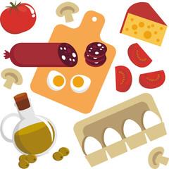 Picture of food. Egg, cheese, sausage, champignon, tomato