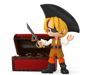 Foto op Plexiglas Piraten pirate boy side view