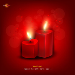 Two red burning heart shaped candles on dark red background. Vec