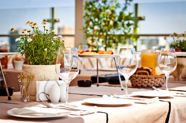 Served table at summer cafe