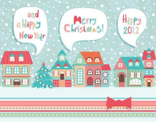 Wall Mural - Funny Christmas postcard.