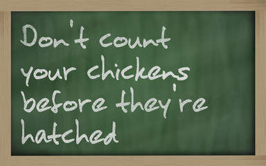 """ Don't count your chickens before they're hatched "" written on"
