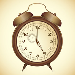 Vector icon of antique bronze alarm clock