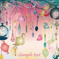 Antique colorful background with tea party theme